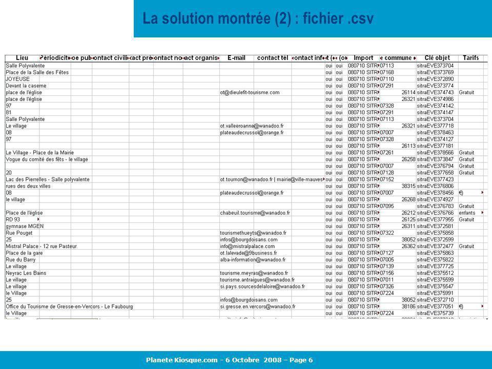 La solution montrée (2) : fichier .csv