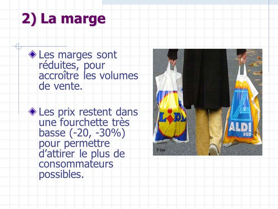 2) La marge Les marges sont réduites, pour accroître les volumes de vente.