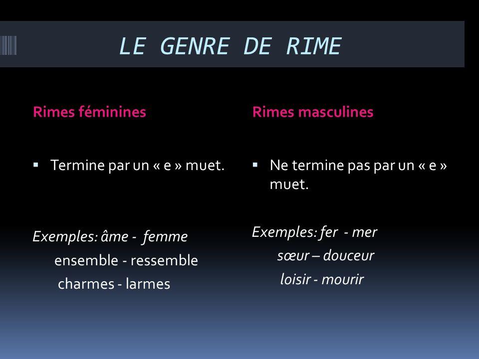 LE GENRE DE RIME Rimes féminines Rimes masculines