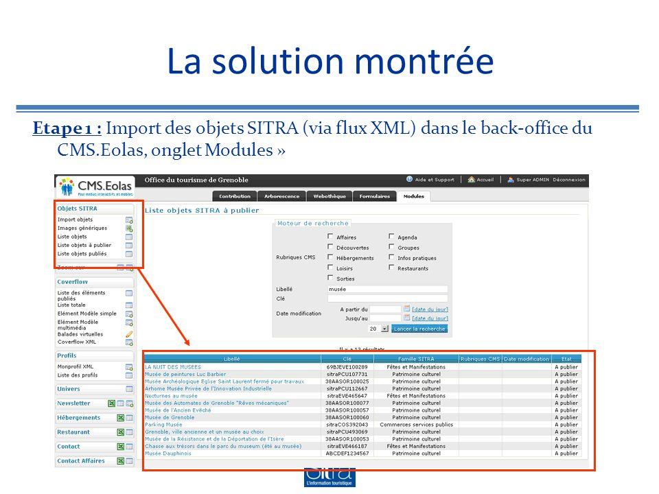 La solution montrée Etape 1 : Import des objets SITRA (via flux XML) dans le back-office du CMS.Eolas, onglet Modules »