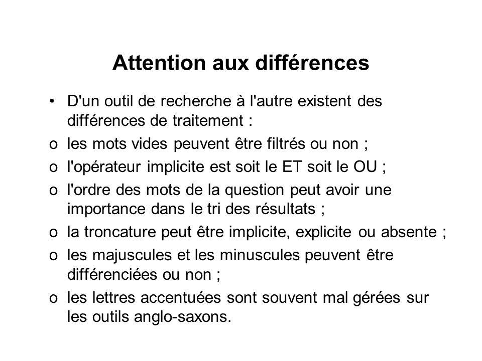 Attention aux différences