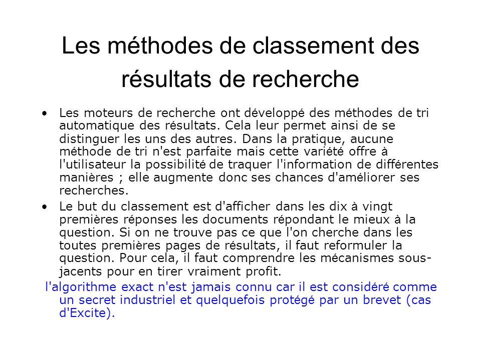 Les méthodes de classement des résultats de recherche