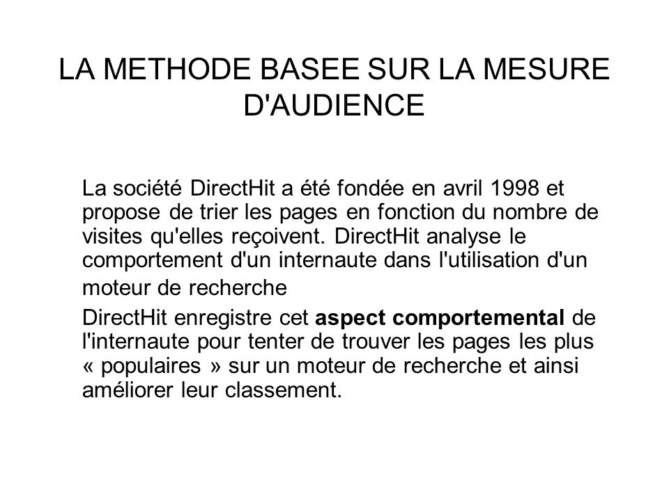 LA METHODE BASEE SUR LA MESURE D AUDIENCE
