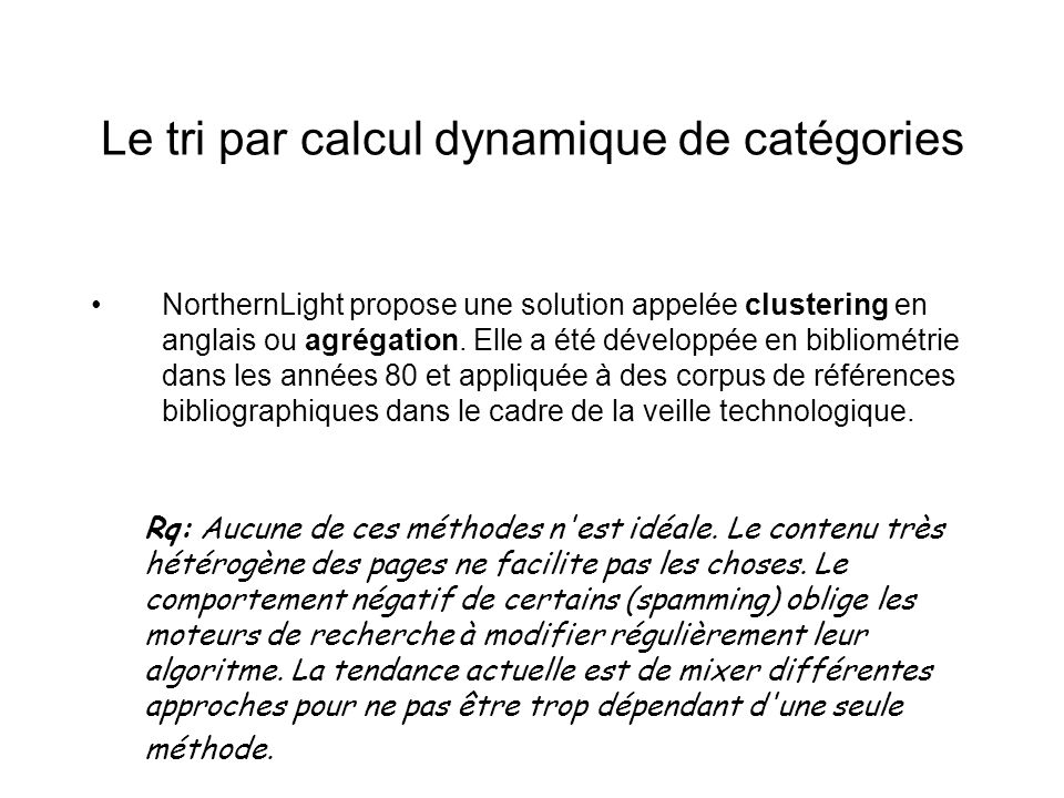 Le tri par calcul dynamique de catégories