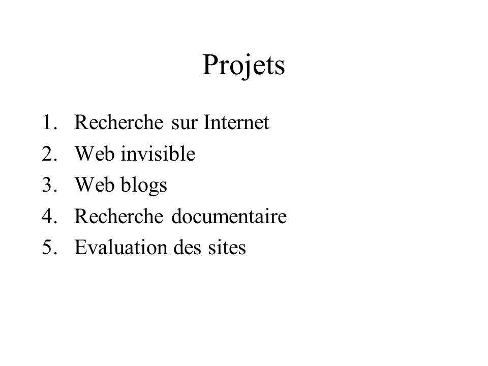 Projets Recherche sur Internet Web invisible Web blogs