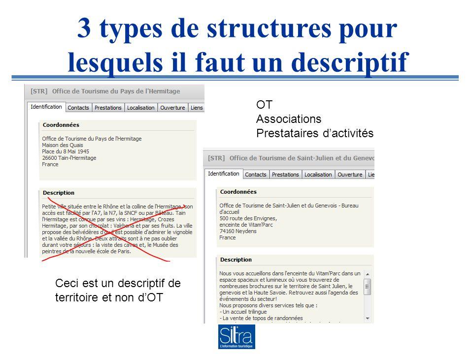 3 types de structures pour lesquels il faut un descriptif