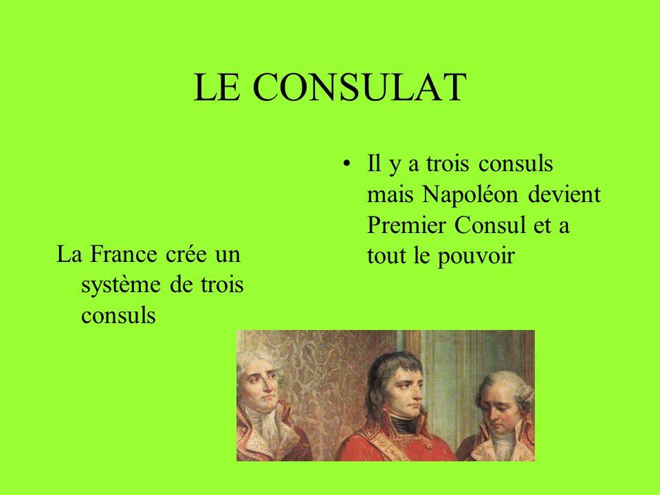 LE CONSULAT Il y a trois consuls mais Napoléon devient Premier Consul et a tout le pouvoir.