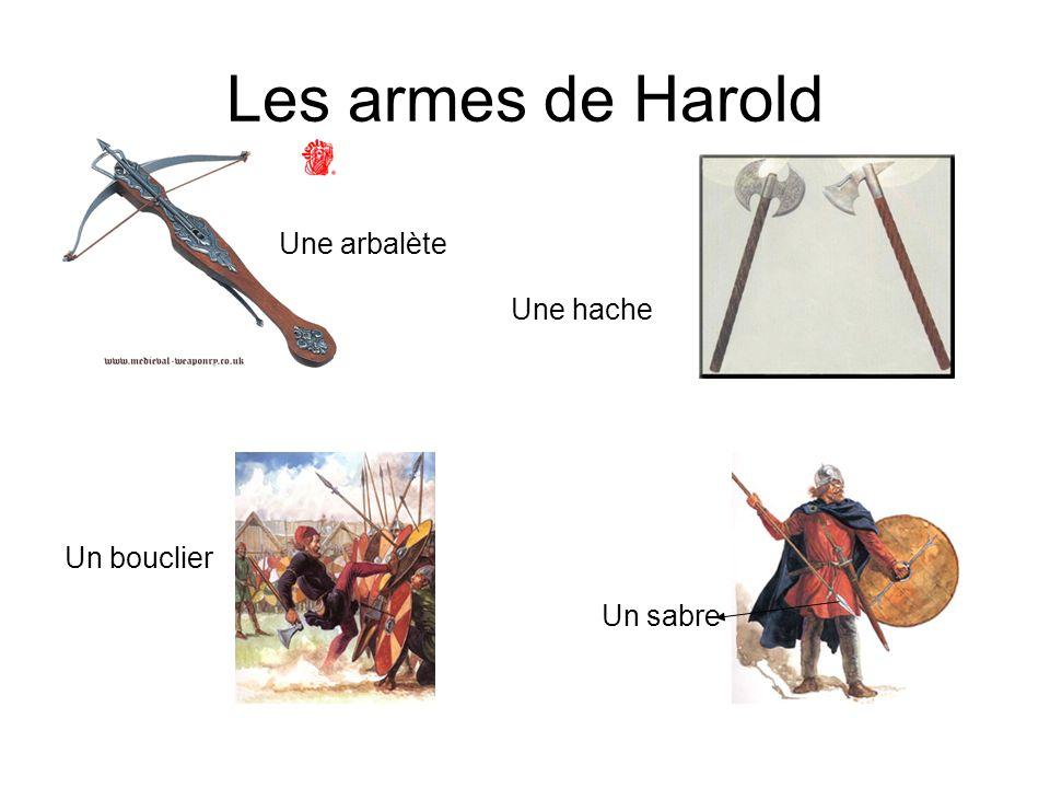 Les armes de Harold Une arbalète Une hache Un bouclier Un sabre