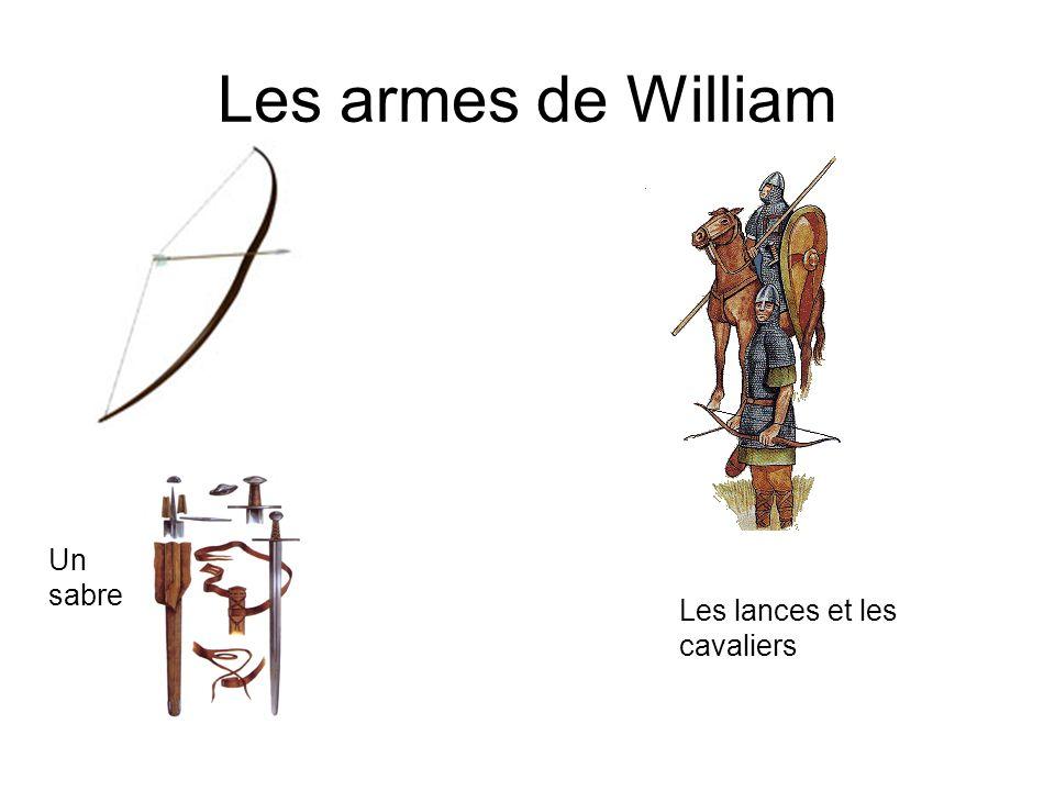 Les armes de William Un sabre Les lances et les cavaliers