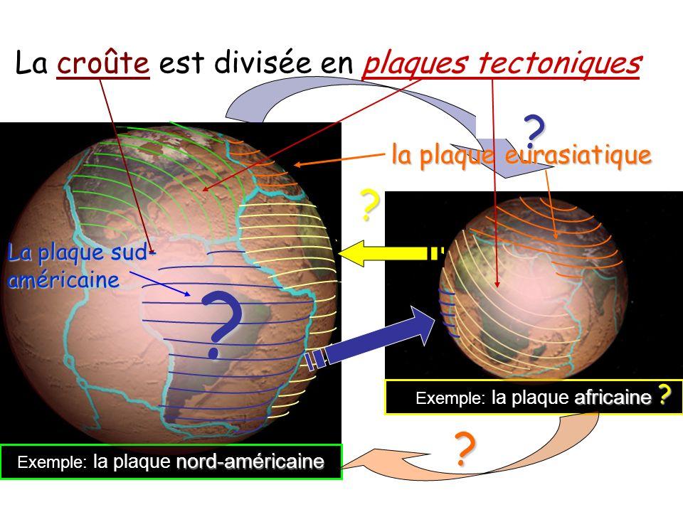 La croûte La croûte est divisée en plaques tectoniques Où est