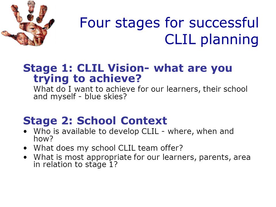 Four stages for successful CLIL planning