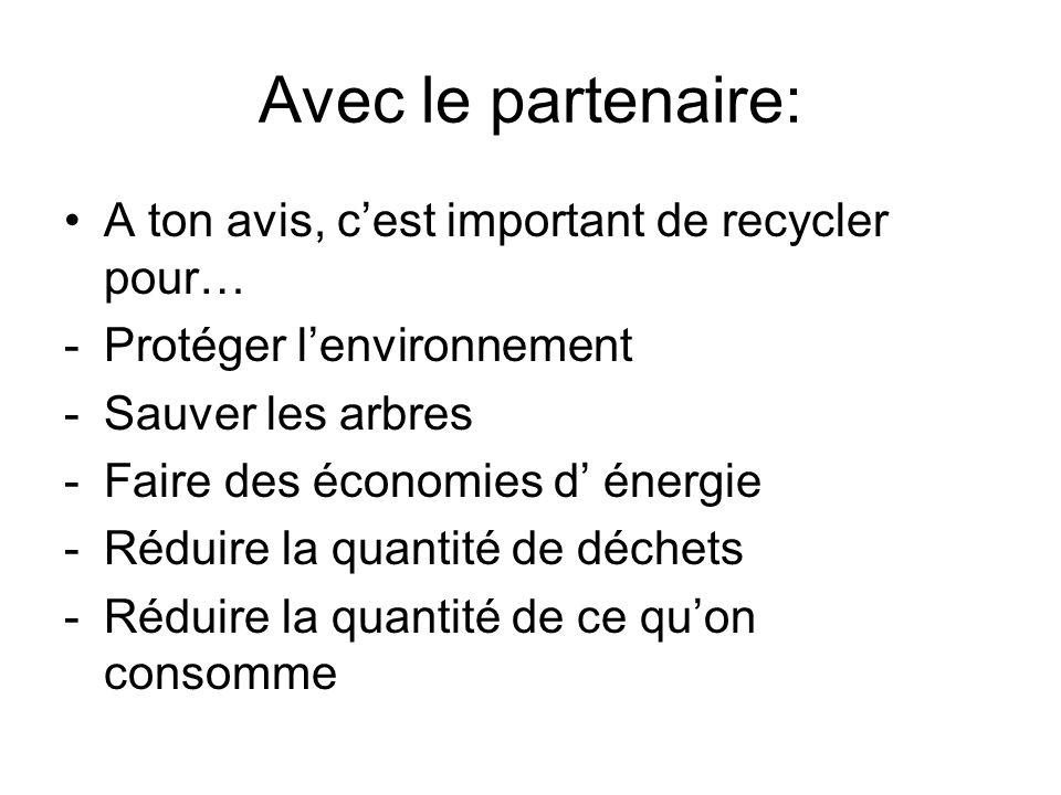 Avec le partenaire: A ton avis, c'est important de recycler pour…