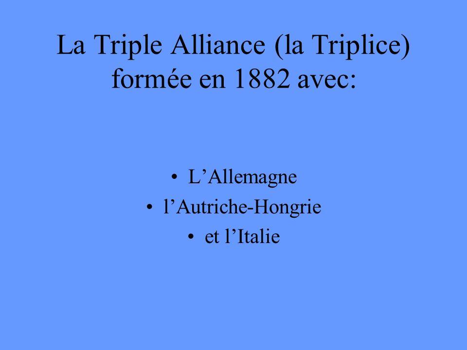La Triple Alliance (la Triplice) formée en 1882 avec: