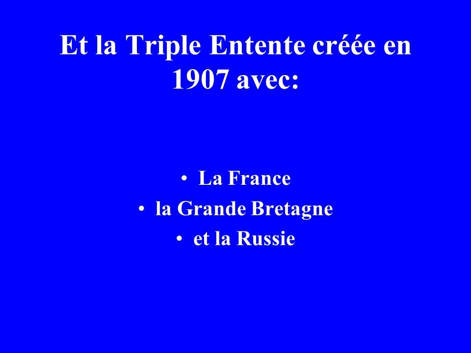 Et la Triple Entente créée en 1907 avec:
