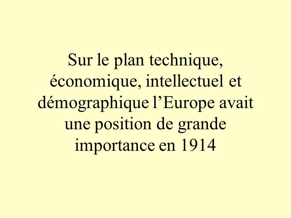 Sur le plan technique, économique, intellectuel et démographique l'Europe avait une position de grande importance en 1914