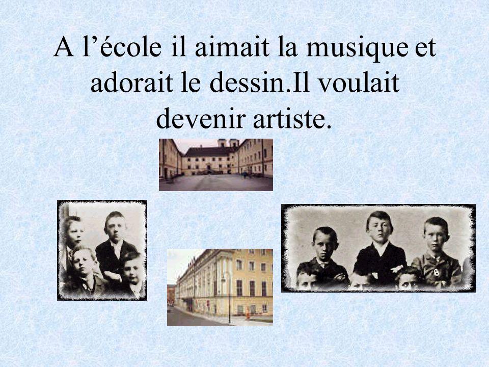 A l'école il aimait la musique et adorait le dessin