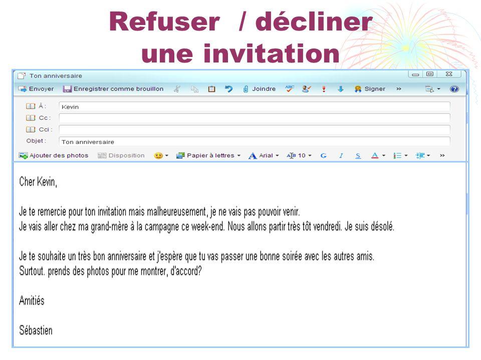 Refuser / décliner une invitation