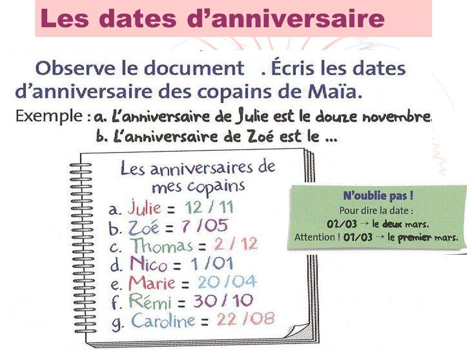 Les dates d'anniversaire