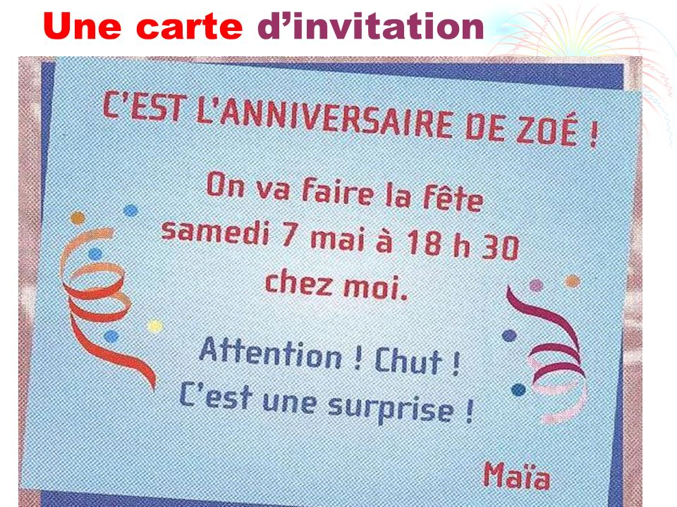 Une carte d'invitation
