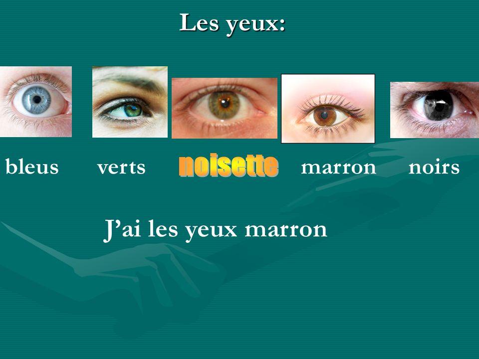 Les yeux: bleus verts marron noirs noisette J'ai les yeux marron
