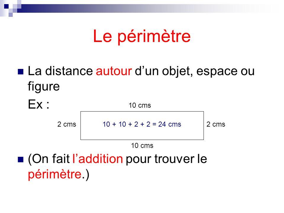 Le périmètre La distance autour d'un objet, espace ou figure Ex :