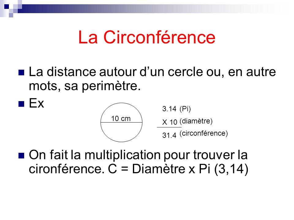 La CirconférenceLa distance autour d'un cercle ou, en autre mots, sa perimètre. Ex.