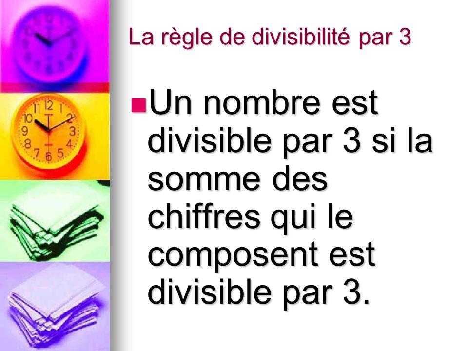 La règle de divisibilité par 3