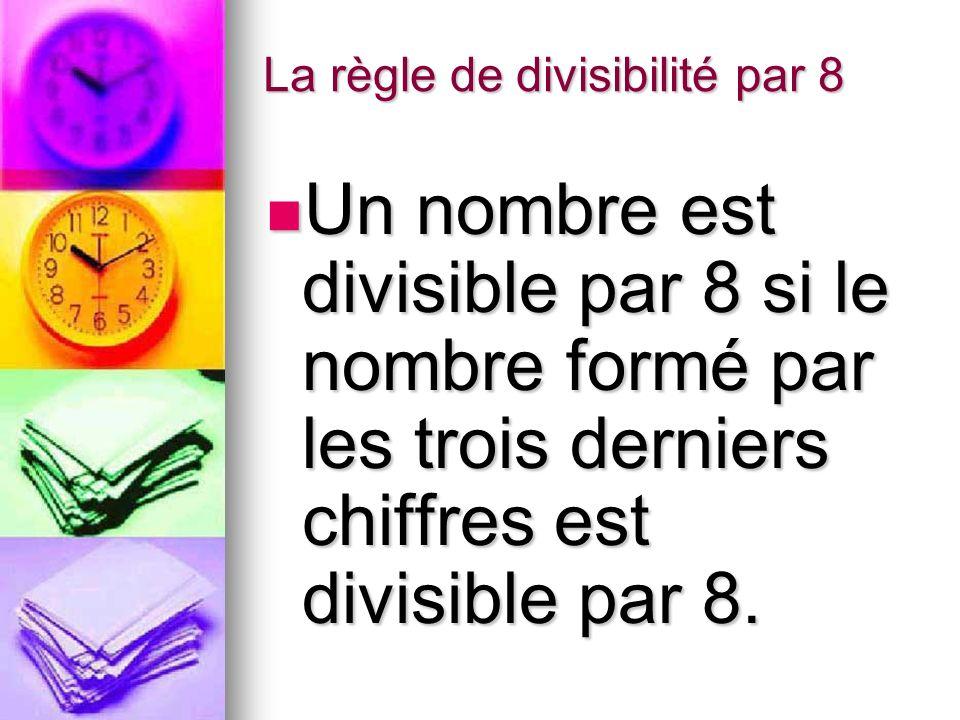 La règle de divisibilité par 8