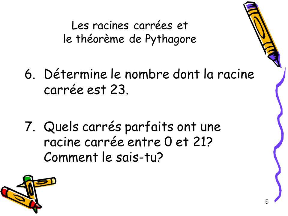 Les racines carrées et le théorème de Pythagore