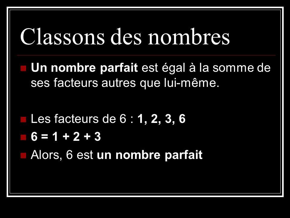 Classons des nombresUn nombre parfait est égal à la somme de ses facteurs autres que lui-même. Les facteurs de 6 : 1, 2, 3, 6.