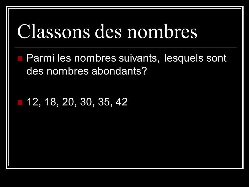 Classons des nombresParmi les nombres suivants, lesquels sont des nombres abondants.