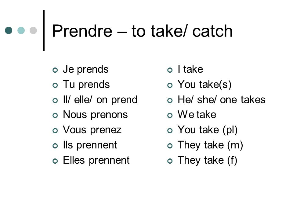 Prendre – to take/ catch
