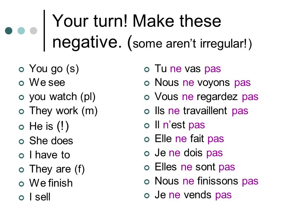 Your turn! Make these negative. (some aren't irregular!)
