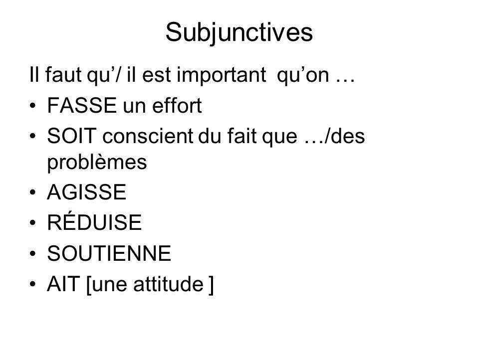 Subjunctives Il faut qu'/ il est important qu'on … FASSE un effort
