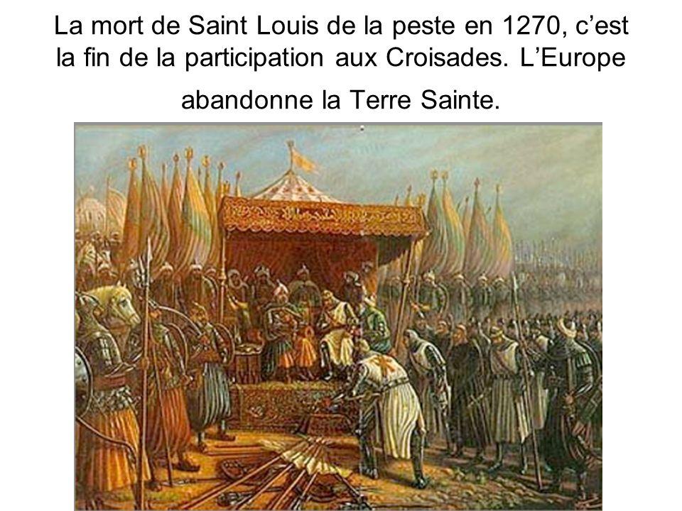 La mort de Saint Louis de la peste en 1270, c'est la fin de la participation aux Croisades.