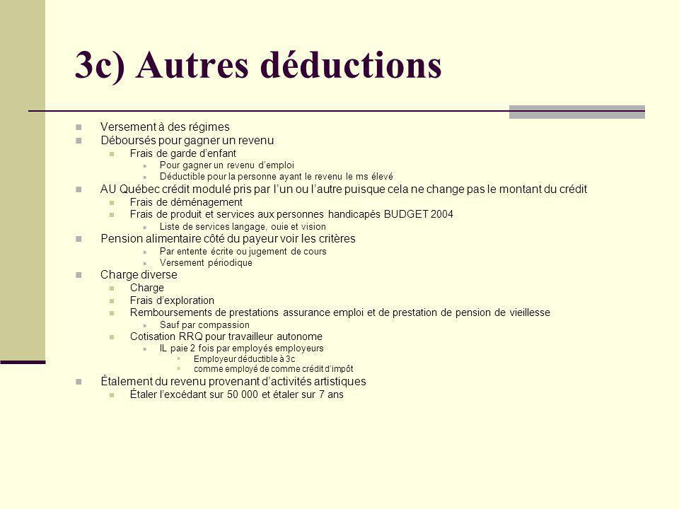 3c) Autres déductions Versement à des régimes