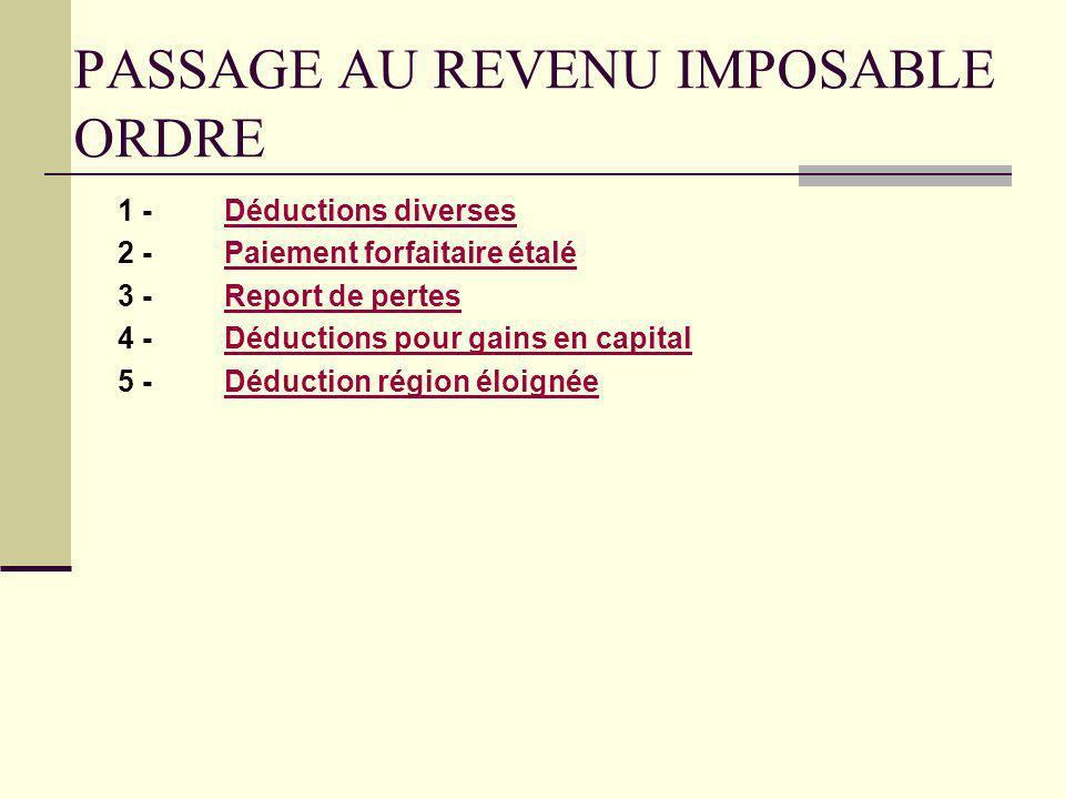 PASSAGE AU REVENU IMPOSABLE ORDRE
