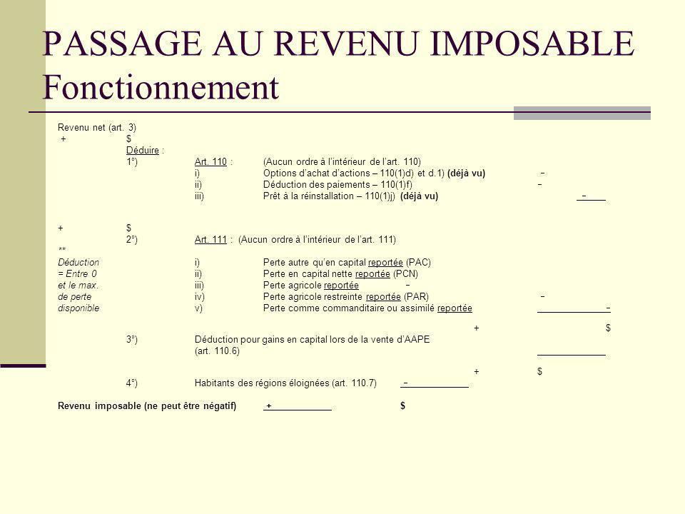 PASSAGE AU REVENU IMPOSABLE Fonctionnement