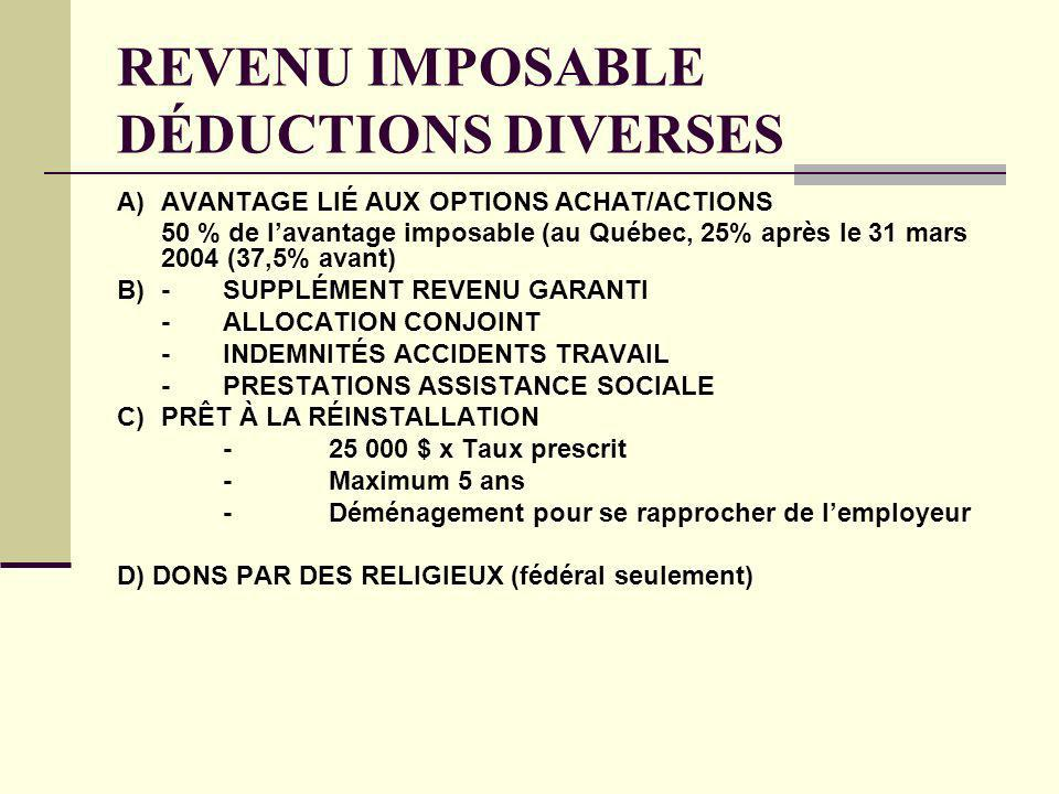REVENU IMPOSABLE DÉDUCTIONS DIVERSES