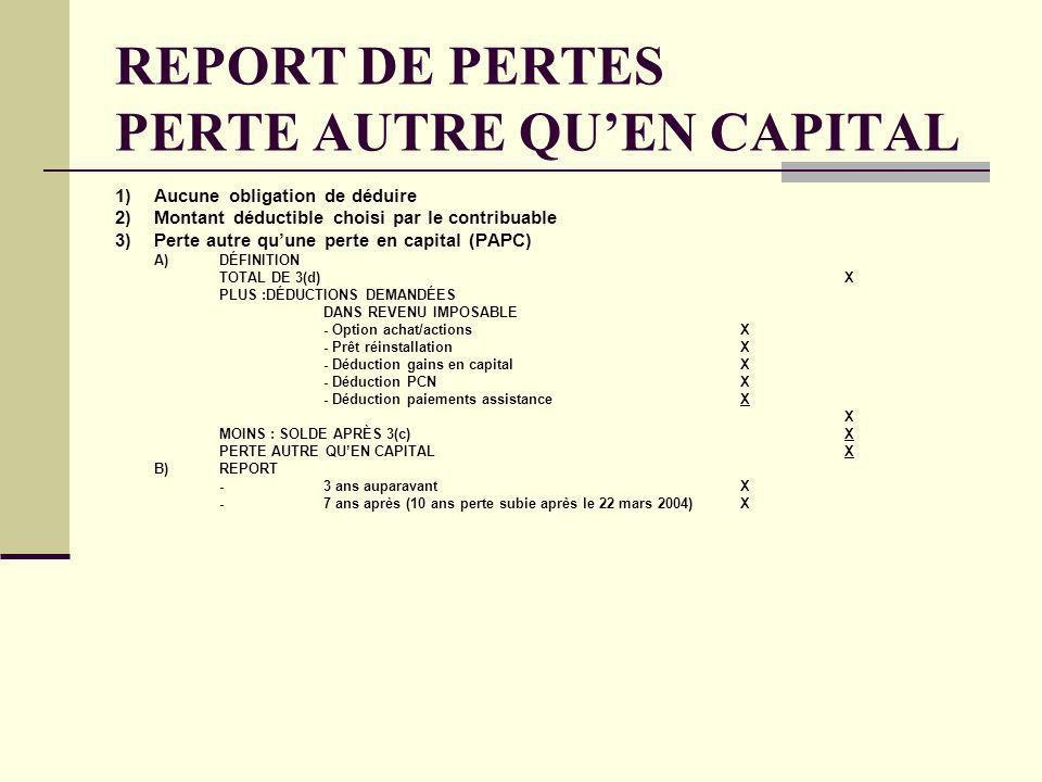 REPORT DE PERTES PERTE AUTRE QU'EN CAPITAL