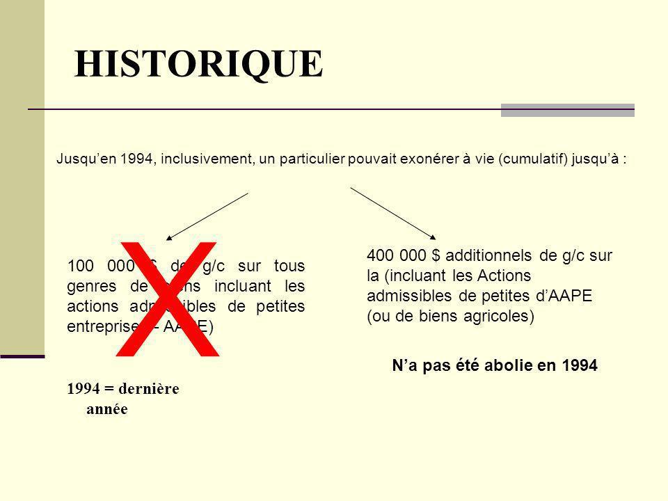 HISTORIQUE Jusqu'en 1994, inclusivement, un particulier pouvait exonérer à vie (cumulatif) jusqu'à :