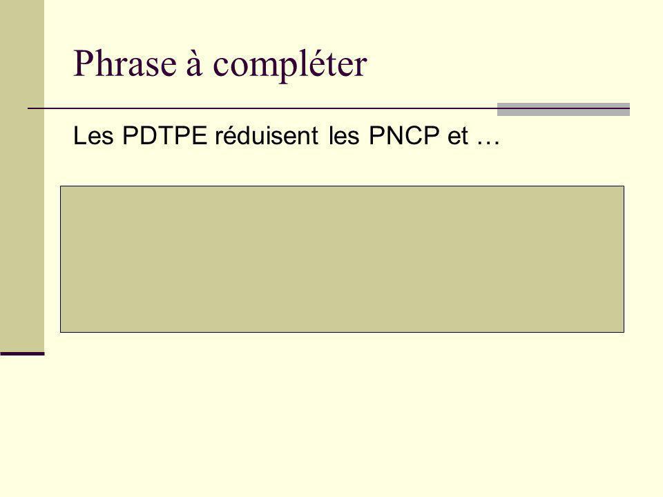 Phrase à compléter Les PDTPE réduisent les PNCP et …