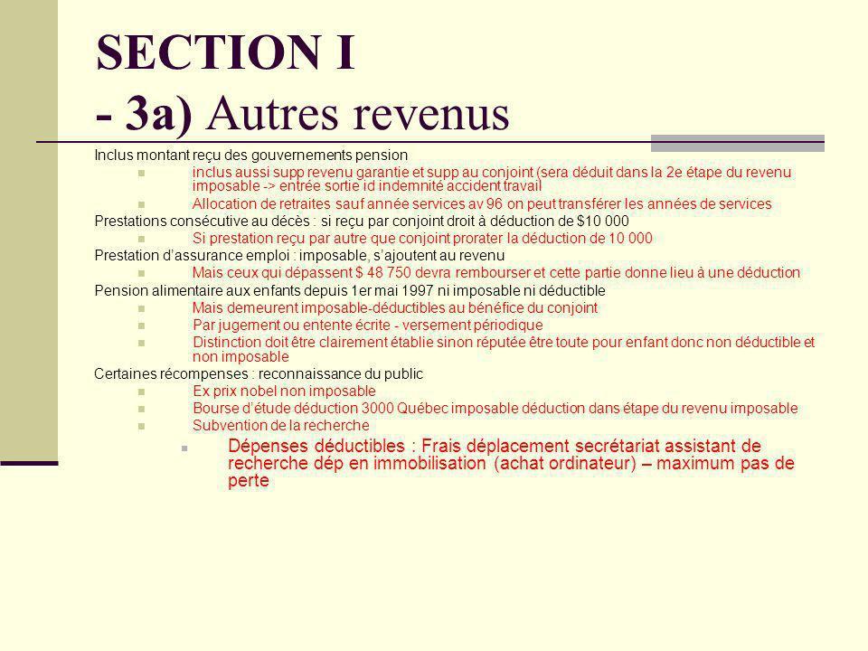 SECTION I - 3a) Autres revenus