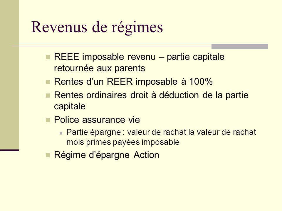 Revenus de régimes REEE imposable revenu – partie capitale retournée aux parents. Rentes d'un REER imposable à 100%