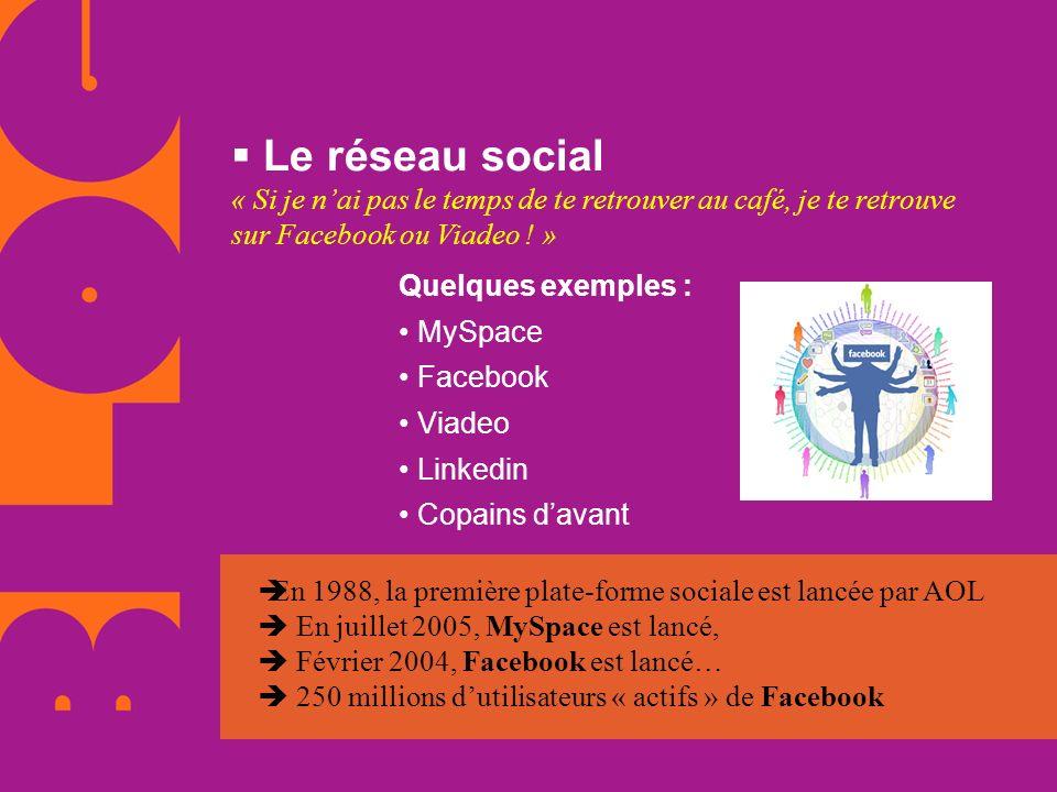Le réseau social « Si je n'ai pas le temps de te retrouver au café, je te retrouve sur Facebook ou Viadeo ! »