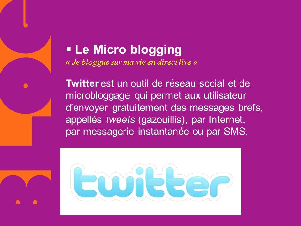 Le Micro blogging « Je bloggue sur ma vie en direct live » Twitter est un outil de réseau social et de microbloggage qui permet aux utilisateur.