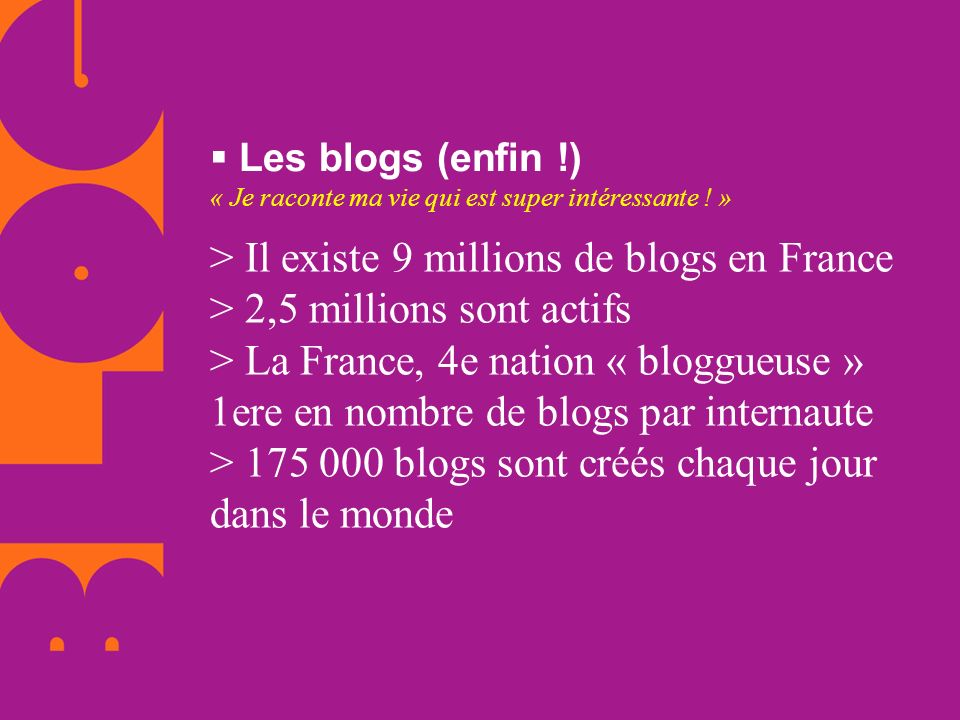 > Il existe 9 millions de blogs en France