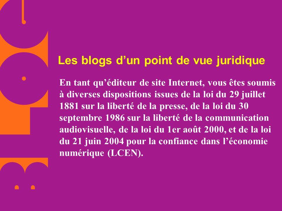 Les blogs d'un point de vue juridique