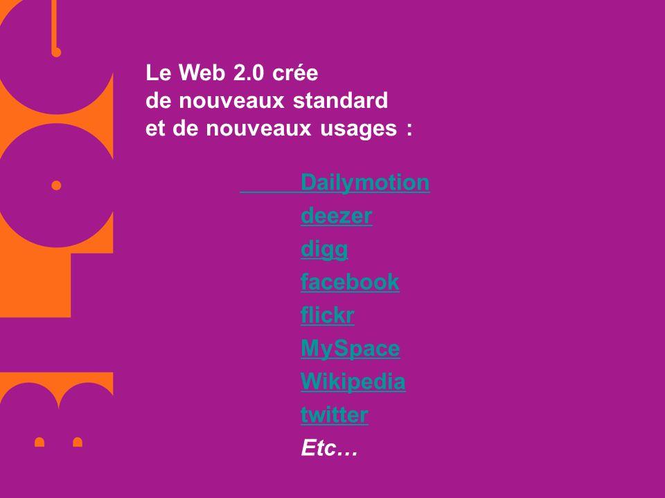 Le Web 2.0 crée de nouveaux standard et de nouveaux usages :