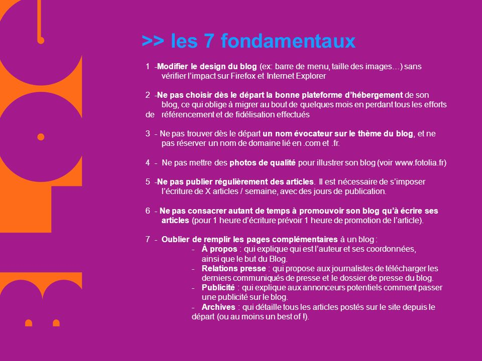 >> les 7 fondamentaux
